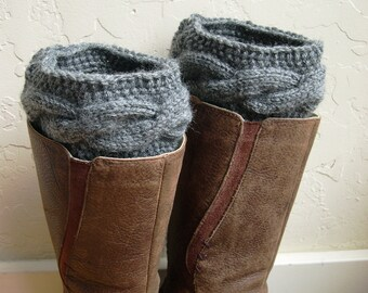 Cable Knit Boot cuffs - Gray Legwarmers - Grey boot toppers  - Spring Fashion - Wool Knit boot tops - Gray boot tops - Winter fashion
