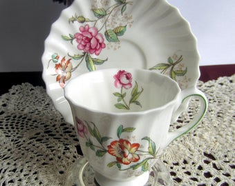 Royal Doulton CLOVELLY H4805 Transferware Demi Tasse Tea Cup and Saucer - Made in England