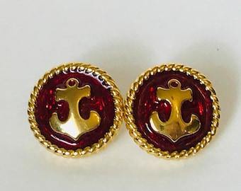 Trifari Gold Tone Red Enamel Anchor Button Earrings, Trifari Nautical Earrings, Post Back