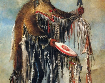 George Catlin: The Indian Gallery - The Medicine Man, Performing his Mysteries over a Dying Chief, Blackfoot/Siksika, 1832. Fine Art Print.