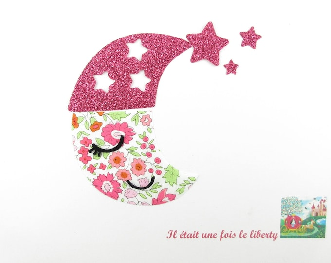 Liberty fabric Moon fusing of pink Anjo and flex glitter iron on patch dream baby liberty fusible applique