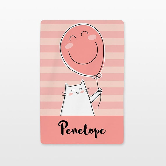 Balloon Cat Personalized Baby Blanket Custom Name Baby Girl Throw Plush Minky Soft Fleece Kids New Baby Gift Idea Unique Cute Peach Coral