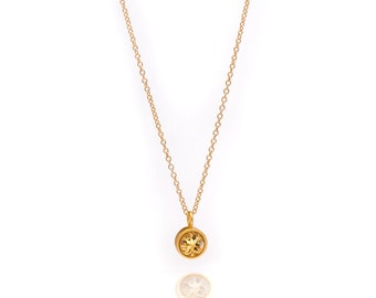 Gemstone POP Necklace - Gold Necklace - Citrine Necklace - Small Gemstone Pendant Necklace - 24k Gold Vermeil
