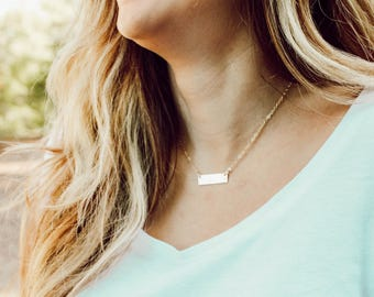 petite gold bar necklace // gold filled // personalized