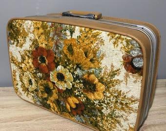 Vintage Samsonite Floral Canvas Briefcase Suitcase Luggage