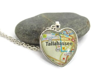 Tallahassee Heart Shaped Map Necklace, Florida Jewelry, Tallahassee Necklace, Heart Pendant with Chain, Bronzed or Silver