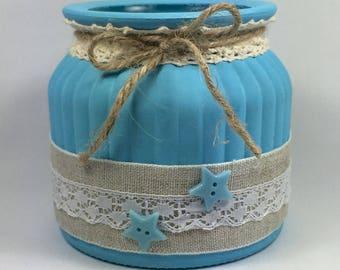 "Pot en verre ""SHABBY CHIC"" Turquoise  - Lin et dentelle bouton  turquoise"