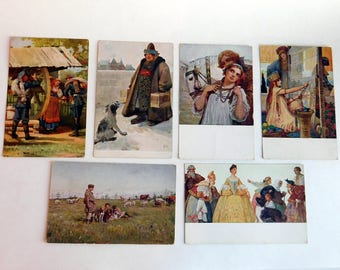 Lot of 6 Vintage to Antique Russian Souvenir Postcards of Famous Russian Paintings - 3 of Them Are Ostrowski - Color Lithograph - Unposted