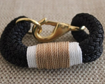 Customized Maine Rope Bracelet - Black Rope -White / Tan - Made to Order