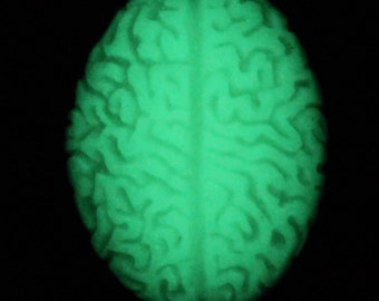 Green glow in the dark zombie brain needleminder