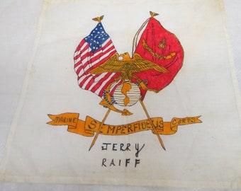 Vintage Marine Corps  cotton Hanky Hankerchief #004