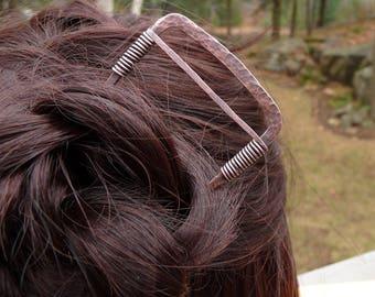 square hair fork, geometric hair stick, textured hair fork chignon holder copper hair pin stick cheveux hair accessory for women gift bun