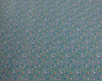 Flowers on Blue Cotton Fabric