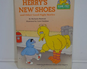 Vintage 1989 Sesame Street Herry's New Shoes and Other Good Night Stories Illustrated Golden Book