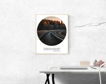 Printable Wall Art - Train Tracks Quote - journey thousand miles - instant download, digital prints, inspirational quotes