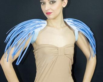 Fantasy blue boned crinoline pistils shoulders.