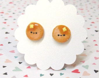 Pancake Earrings, Cute Food Earrings, Hypoallergenic Nylon Posts, Miniature Food Jewelry, Cute, Kawaii, Girls Earrings