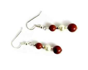 Red Jasper and Ivory Pearl Earrings