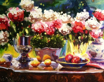 ROSES REFLECTIONS Art Print of Original Oil Painting, Roses and Fruit still life
