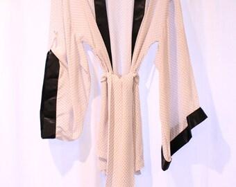 Sheer Light Pink Polka Dot Kimono Robe/Gown with Black Trim Sleeves