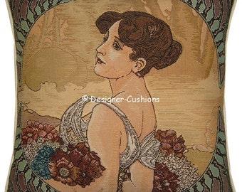Alphonse Mucha Art Noveau Seasons Summer Tapestry Cushion Cover Sham