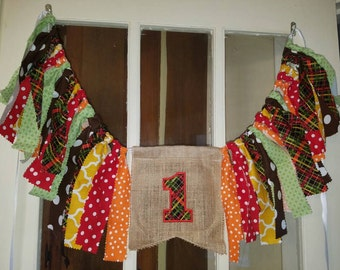 One 1 high chair banner. Smash cake prop 1st birthday high chair banner fall colors theme personalized high chair banner