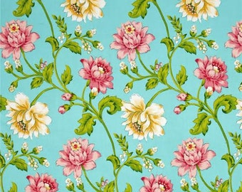 OOP HTF 32 inches Glorious Garden Fabric by April Cornell Rosehip Pink and Yellow Floral Flowers on Aqua Blue