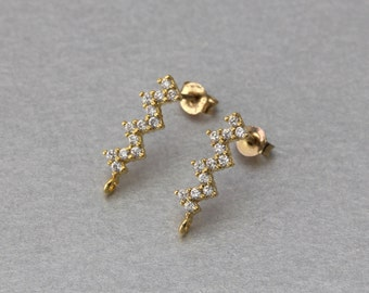 Cubic Zigzag Post Earring . Polished Gold Plated . 10 Pieces / C9121G-010