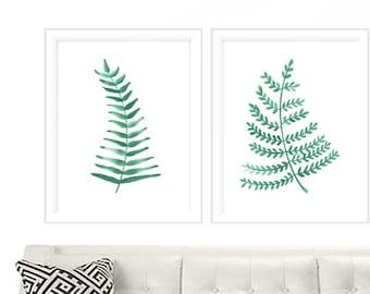 Watercolor Print Set of 2  - Fern Prints - Fern Watercolor Prints - Fern Print Set - Wall Art Print Set - Leaves Wall Art - Fern Print set