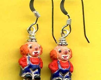 Circus Clowns Sterling Silver Earrings