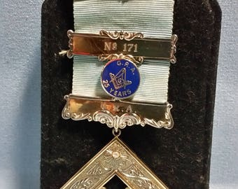 Mason Ribbon and 25 Year Pin with Case, Sterling Silver, Barrhead Lodge 171