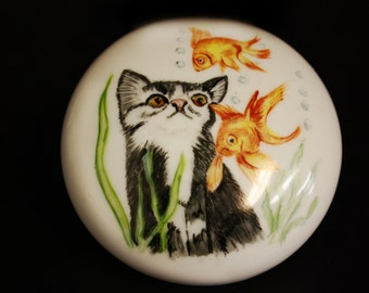 Kitty and goldfish Porcelain Paperweight stocking stuffer on sale