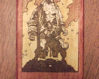 Hellboy inspired hand-crafted wood burned wall art.