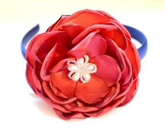 Navy Floral Headband, Womens Headband, Floral Headband, Womens Headpiece, Gift for her, Headbands, Red Flower Headband, Headband for adult