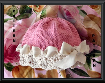 Baby Hat Pattern Knitted Hat Pattern Instant Download Baby Hat Pattern Knitting Pattern for Lace Baby Hat with Ribbon: BERIBBONED