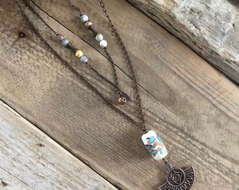 Bohemian, copper, glass bead necklace with Lampwork, Jasper, MULTISTRAND, poetic, hippie, ethnic necklace, handmade necklace