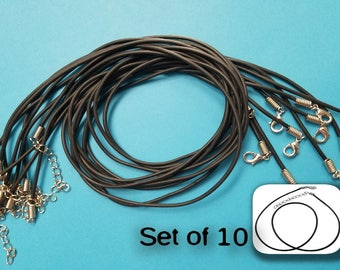 Set of 10, Black PVC Cord, Jewelry Necklace Cord, Necklaces, Black Necklace, Necklace Cords, Black Cord, 16 inch, Adjustable Necklace, #242A
