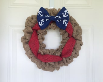 READY TO SHIP American Flag Burlap Wreath