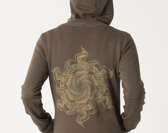 Mens Hoodie Jacket, Psychedelic Mandala Print, Zip Hoodie, Festival Hoodie, Psy Psychedelic Tribal Uv Reactive Clothing