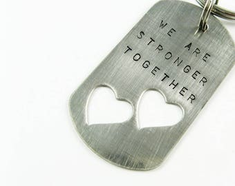 Personalized Steel Double Heart Keychain - Custom Valentine's Day or 11th Anniversary Gift for Husband, Wife