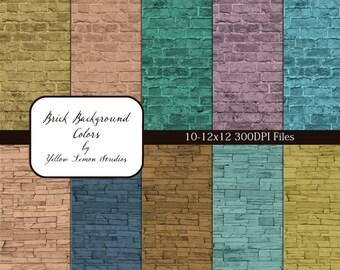 "INSTANT DOWNLOAD- colored Brick Texture background Digital Scrapbooking Paper Pack, 12""x12"", 300 dpi .jpg"