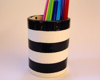 Black & White Stripe Vase or Pencil Cup -- ceramic vessel or vase graphic pottery kitchen decor