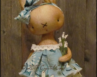 Farmhouse brown Bunny rabbit doll Whimsical woodland animal spring summer cottage chic shabby primitive creepy cute Farm Quirky standing