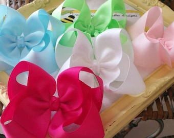 Toddler Hairbows - Basic Hairbow - 4 Inch Bows - 5 Inch Hair Bows - Pick 5 Colors Large Hair Bow Set - Birthday Girl Hair Accessory Gift Set