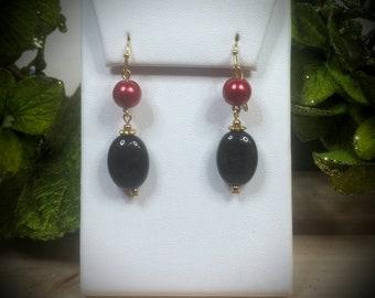 Natural Golden Obsidian & Pearl Earrings