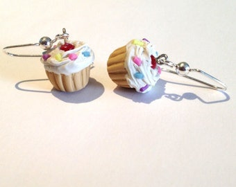 CLEARANCE SALE ~ SCENTED Vanilla Cupcake Earrings with Rainbow Sprinkles