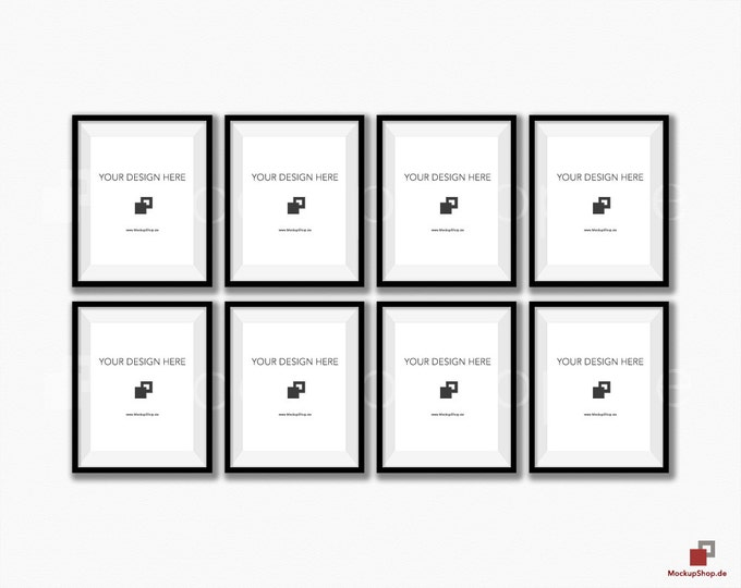 BLACK FRAME MOCKUP 8x10, Set of 8 vertical Frame mockup, Empty Frame Styled Stock Photography, Product Mockup, black frame mockup