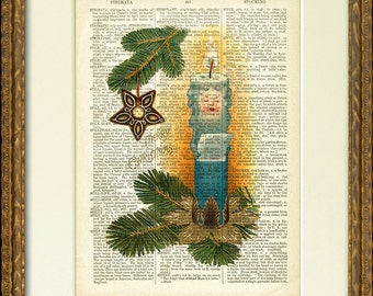 Fun SINGING CHRISTMAS CANDLE dictionary art print - a whimsical victorian illustration on an 1800's dictionary page - happy holiday decor!