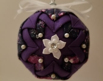 Purple folded fabric handmade ornament with white flower decoration