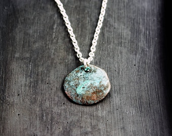 Mykanos Necklace, Mykanos Coin, Patina Pendant, Green, Verdigris, Mint, Sterling Silver, Modern Jewelry, Modern Necklace, PoleStar
